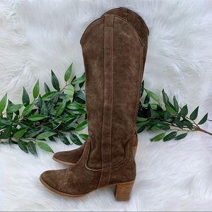 Zara Shoes - Zara Brown Suede Heeled Tall Riding Boot 39